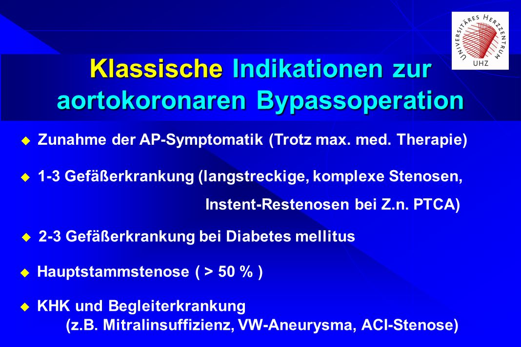 Klassische Indikationen zur aortokoronaren Bypassoperation