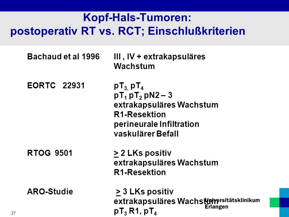 Kopf-Hals-Tumoren: postoperativ RT vs. RCT; Einschlußkriterien