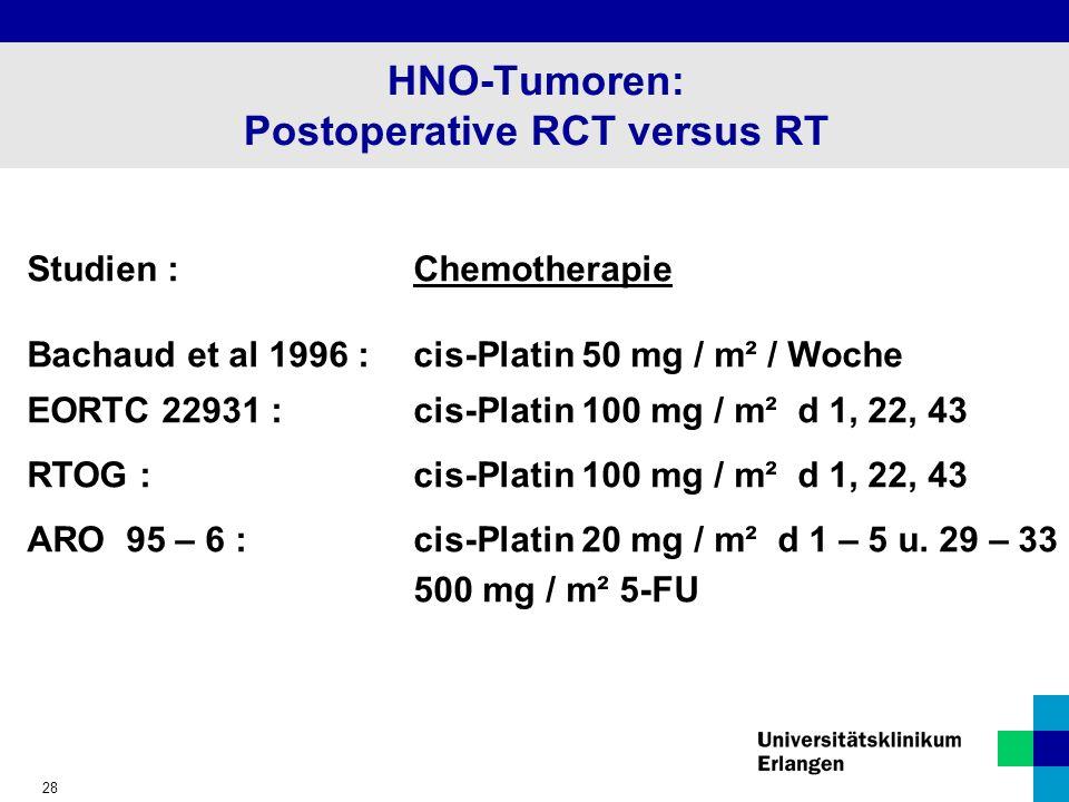 HNO-Tumoren: Postoperative RCT versus RT