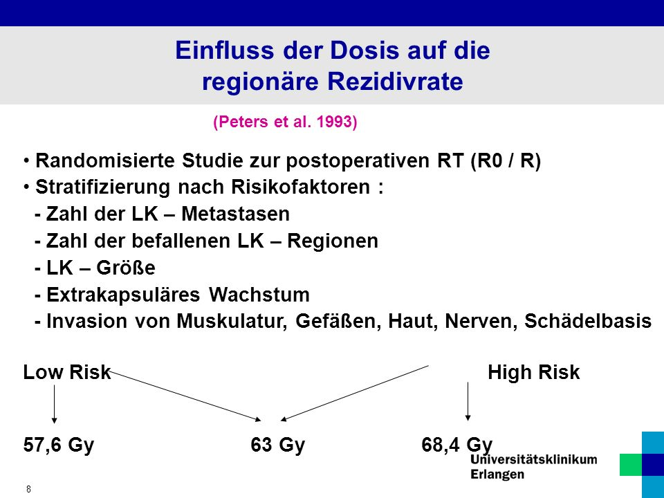 Einfluss der Dosis auf die regionäre Rezidivrate