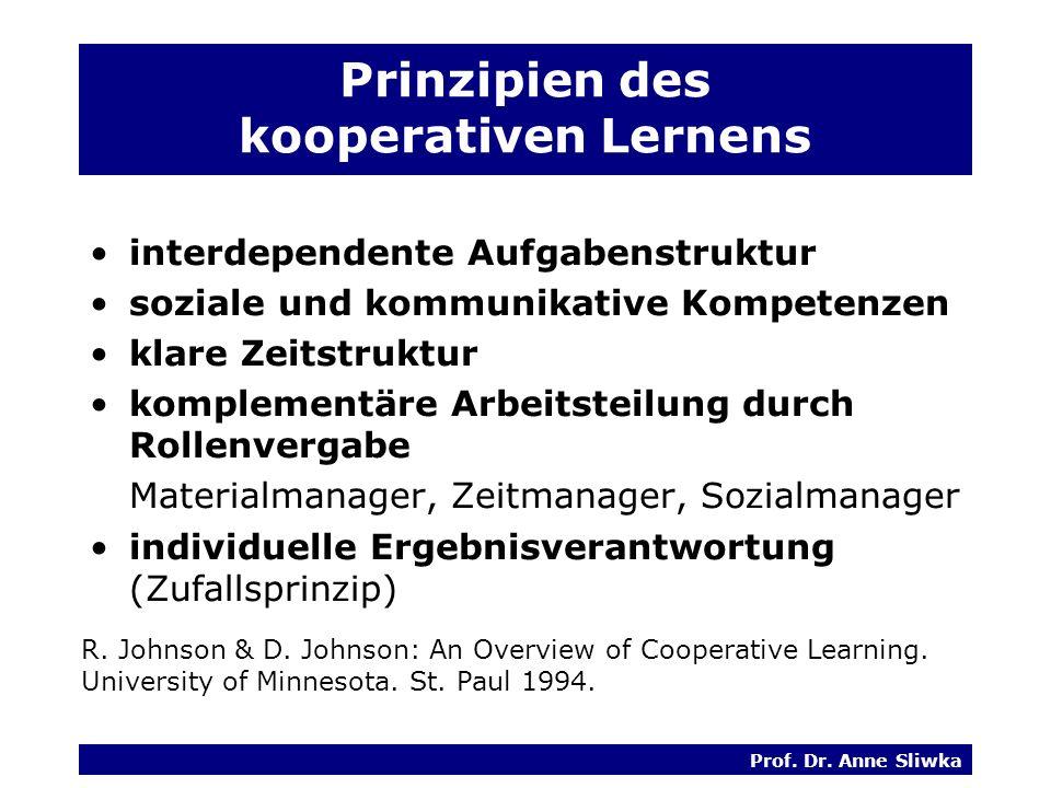 Prinzipien des kooperativen Lernens