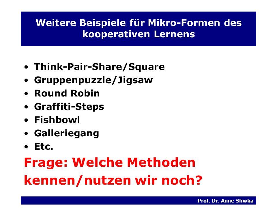 Weitere Beispiele für Mikro-Formen des kooperativen Lernens
