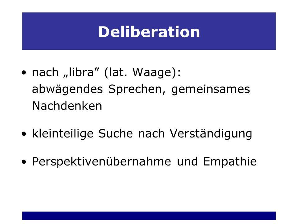 """Deliberation nach """"libra (lat. Waage): abwägendes Sprechen, gemeinsames Nachdenken. kleinteilige Suche nach Verständigung."""