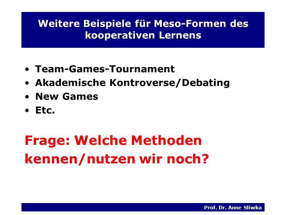 Weitere Beispiele für Meso-Formen des kooperativen Lernens