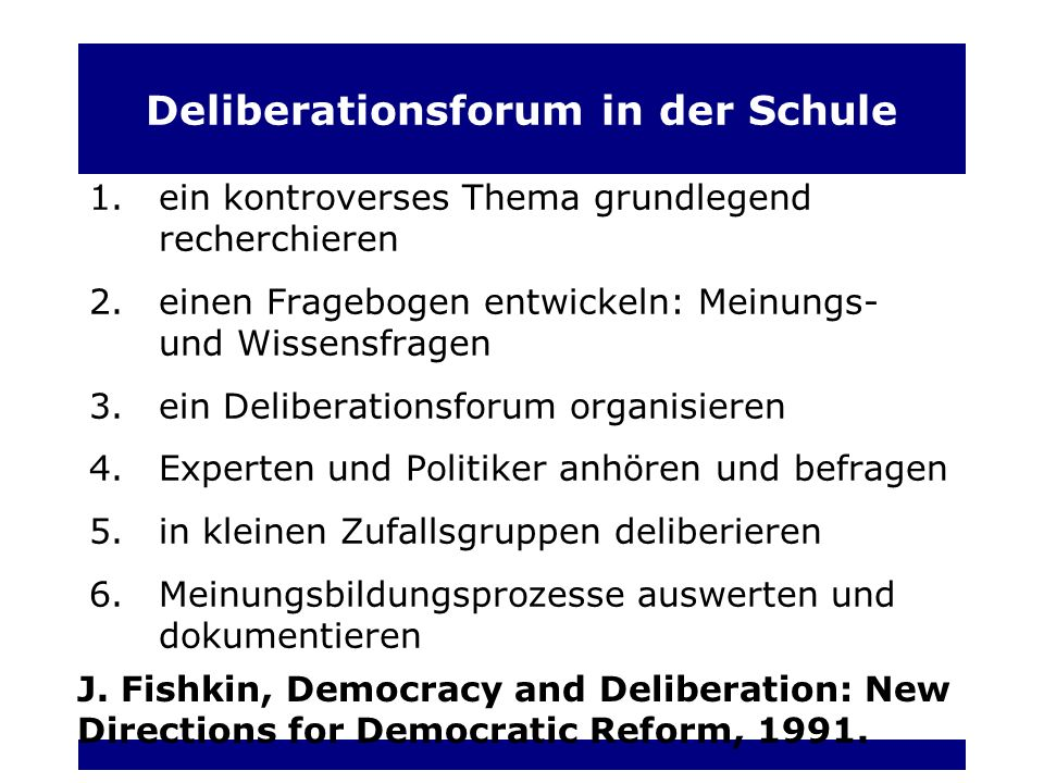 Deliberationsforum in der Schule