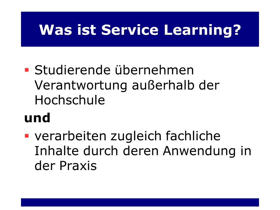 Was ist Service Learning