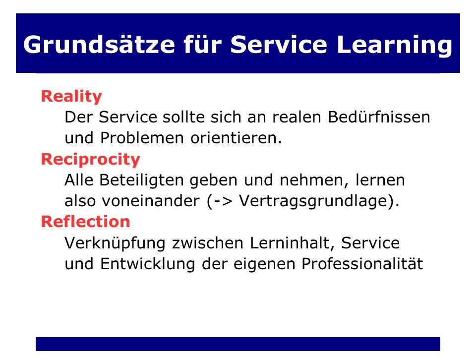 Grundsätze für Service Learning