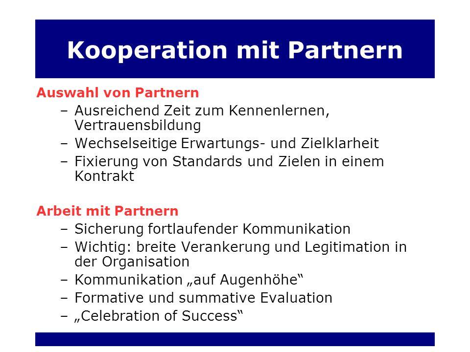 Kooperation mit Partnern