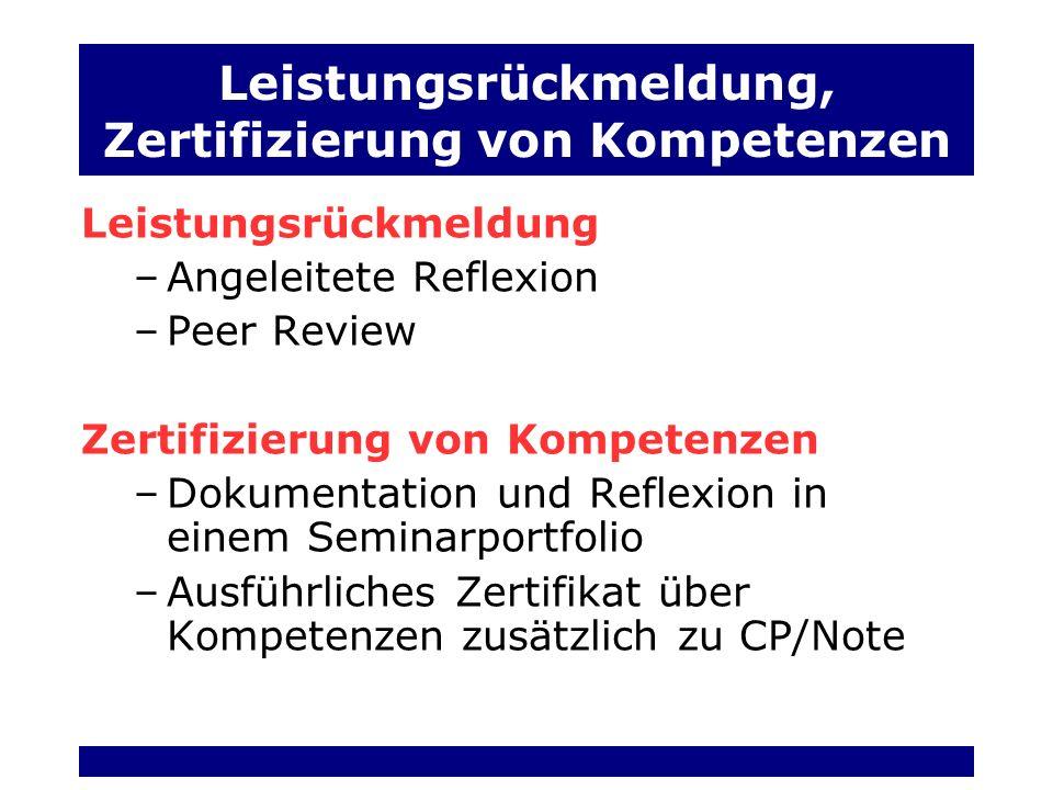 Leistungsrückmeldung, Zertifizierung von Kompetenzen
