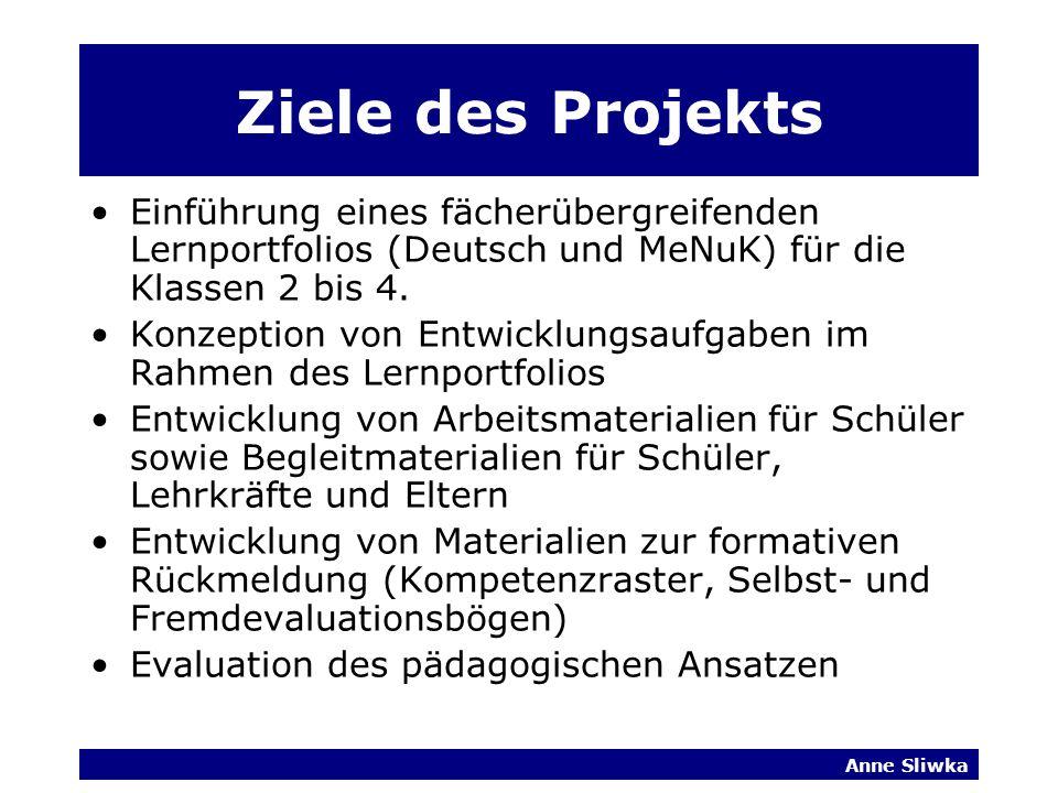 Ziele des Projekts Einführung eines fächerübergreifenden Lernportfolios (Deutsch und MeNuK) für die Klassen 2 bis 4.