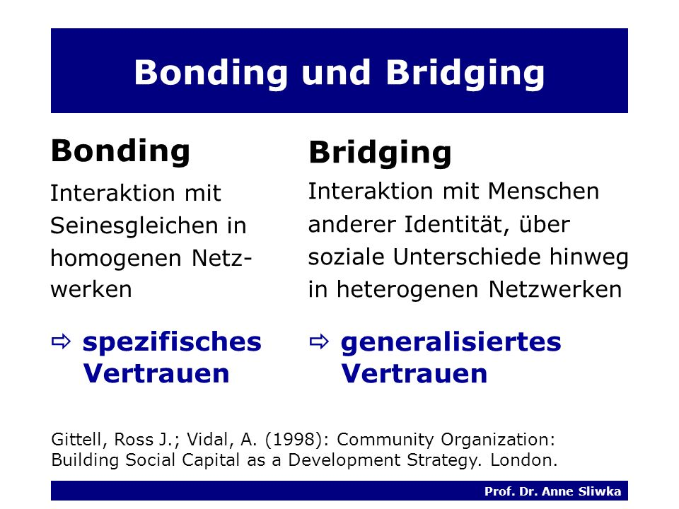 Bonding und Bridging Bonding Bridging  spezifisches Vertrauen