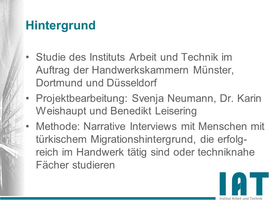 Hintergrund Studie des Instituts Arbeit und Technik im Auftrag der Handwerkskammern Münster, Dortmund und Düsseldorf.