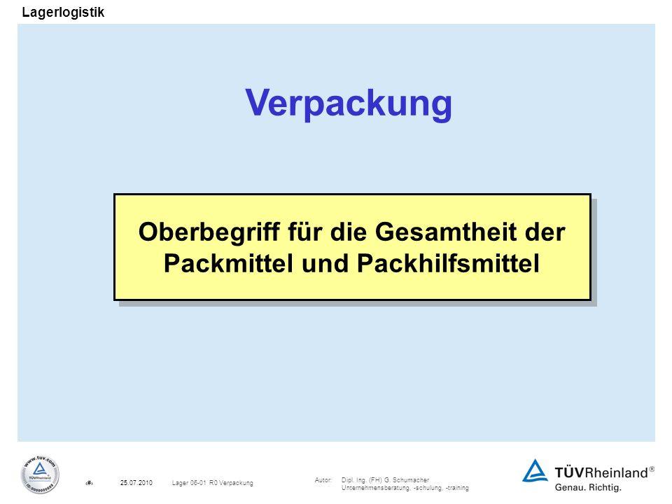Oberbegriff für die Gesamtheit der Packmittel und Packhilfsmittel