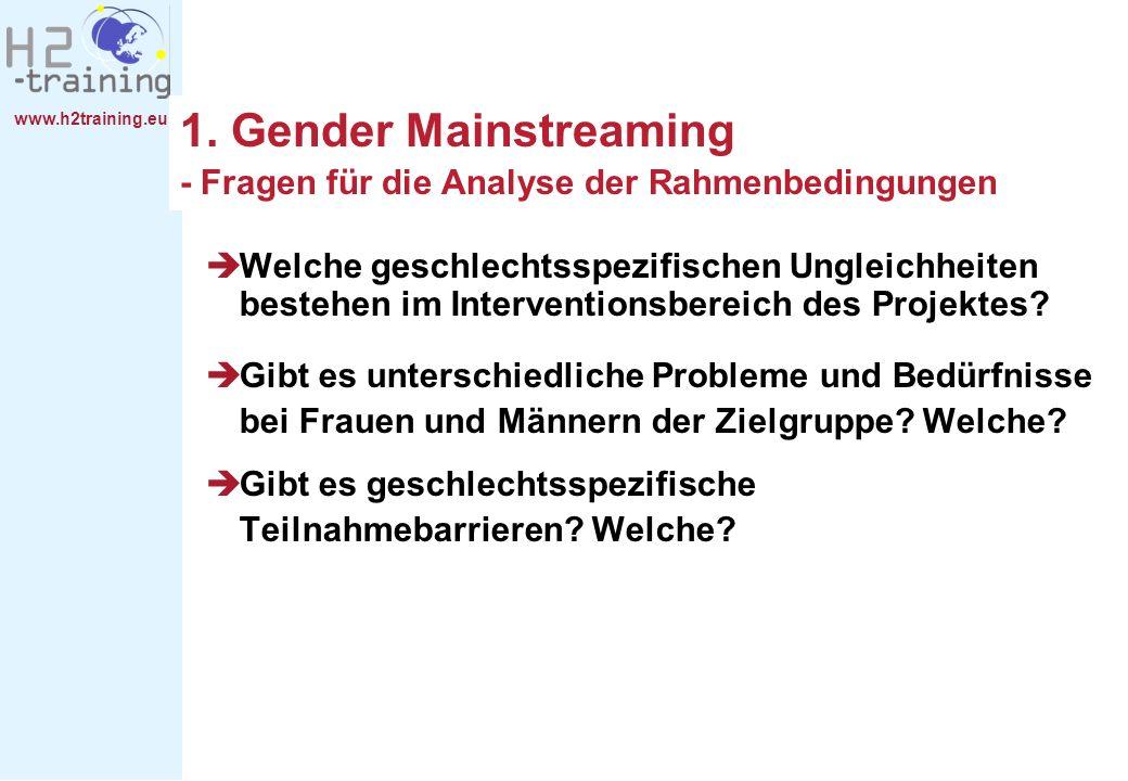 1. Gender Mainstreaming - Fragen für die Analyse der Rahmenbedingungen