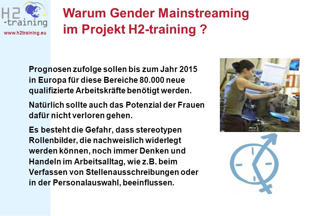Warum Gender Mainstreaming im Projekt H2-training