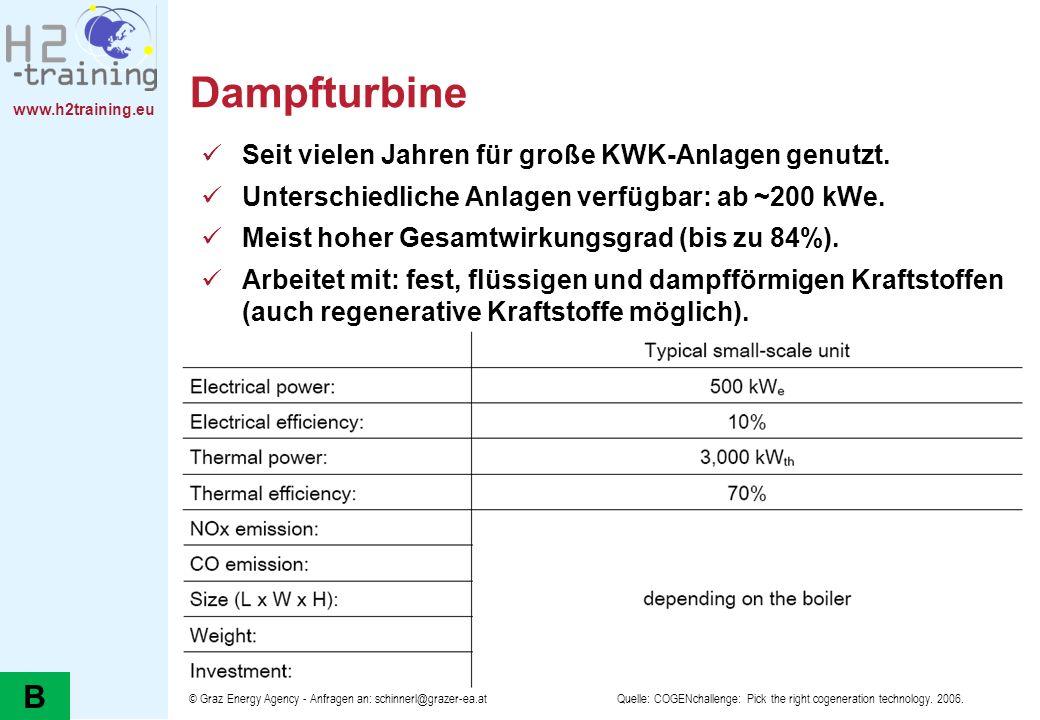 Dampfturbine B Seit vielen Jahren für große KWK-Anlagen genutzt.