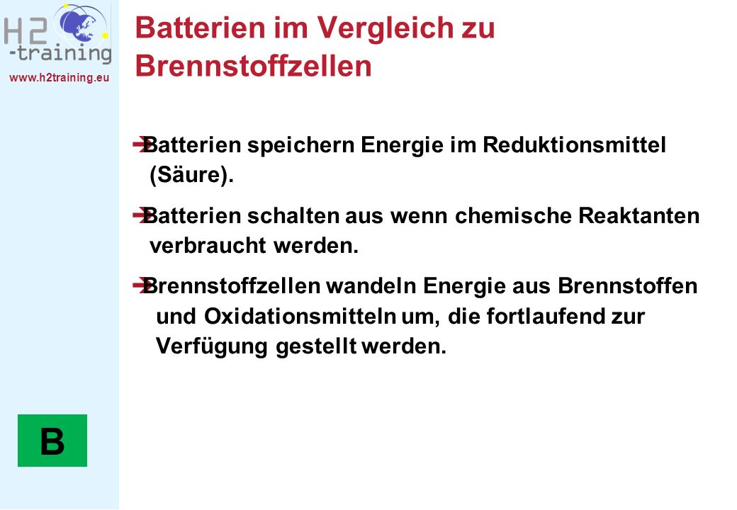 Batterien im Vergleich zu Brennstoffzellen
