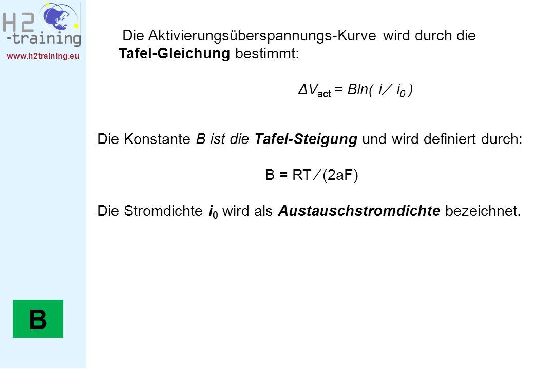 H2 Training Manual Die Aktivierungsüberspannungs-Kurve wird durch die Tafel-Gleichung bestimmt: ΔVact = Bln( i ∕ i0 )