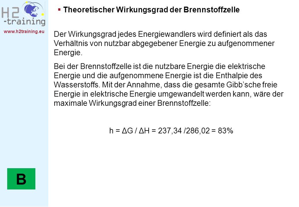 B Theoretischer Wirkungsgrad der Brennstoffzelle