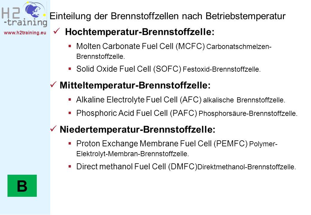B Einteilung der Brennstoffzellen nach Betriebstemperatur