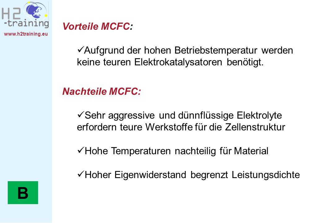 H2 Training Manual Vorteile MCFC: Aufgrund der hohen Betriebstemperatur werden keine teuren Elektrokatalysatoren benötigt.
