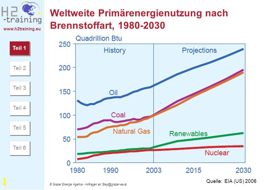 Weltweite Primärenergienutzung nach Brennstoffart, 1980-2030