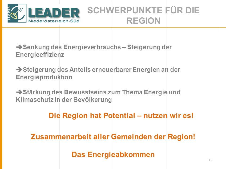 SCHWERPUNKTE FÜR DIE REGION Zusammenarbeit aller Gemeinden der Region!