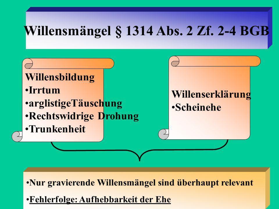 Willensmängel § 1314 Abs. 2 Zf. 2-4 BGB