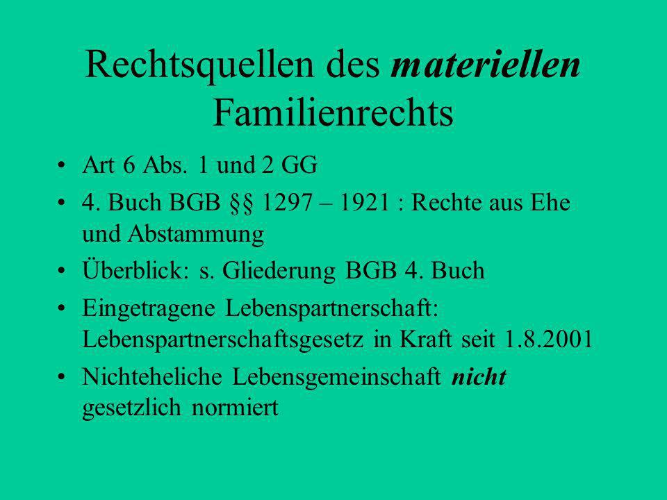 Rechtsquellen des materiellen Familienrechts