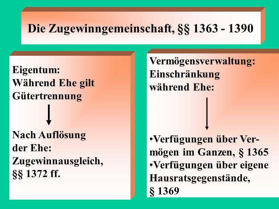 Die Zugewinngemeinschaft, §§ 1363 - 1390