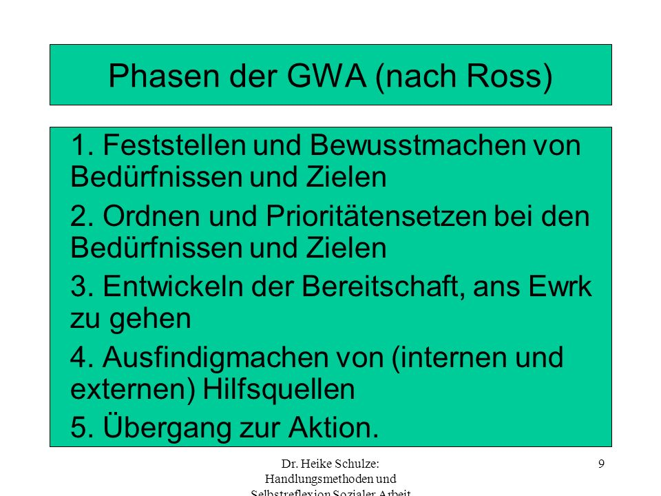 Phasen der GWA (nach Ross)