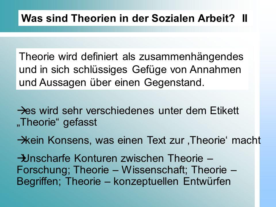 Was sind Theorien in der Sozialen Arbeit II