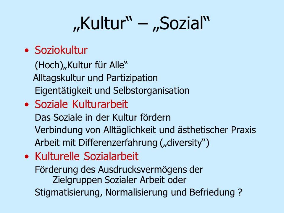 """Kultur – ""Sozial Soziokultur (Hoch)""Kultur für Alle"