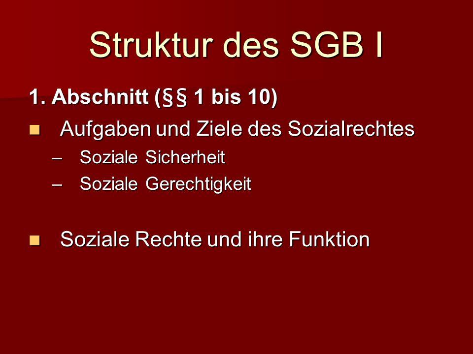 Struktur des SGB I 1. Abschnitt (§§ 1 bis 10)