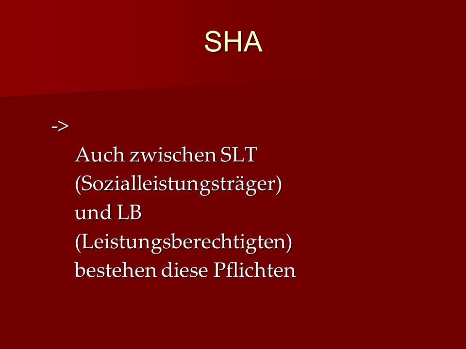 SHA -> Auch zwischen SLT (Sozialleistungsträger) und LB