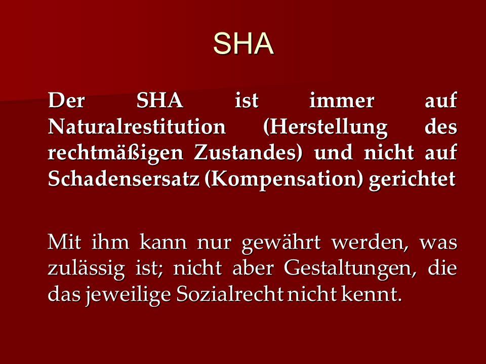 SHA Der SHA ist immer auf Naturalrestitution (Herstellung des rechtmäßigen Zustandes) und nicht auf Schadensersatz (Kompensation) gerichtet.