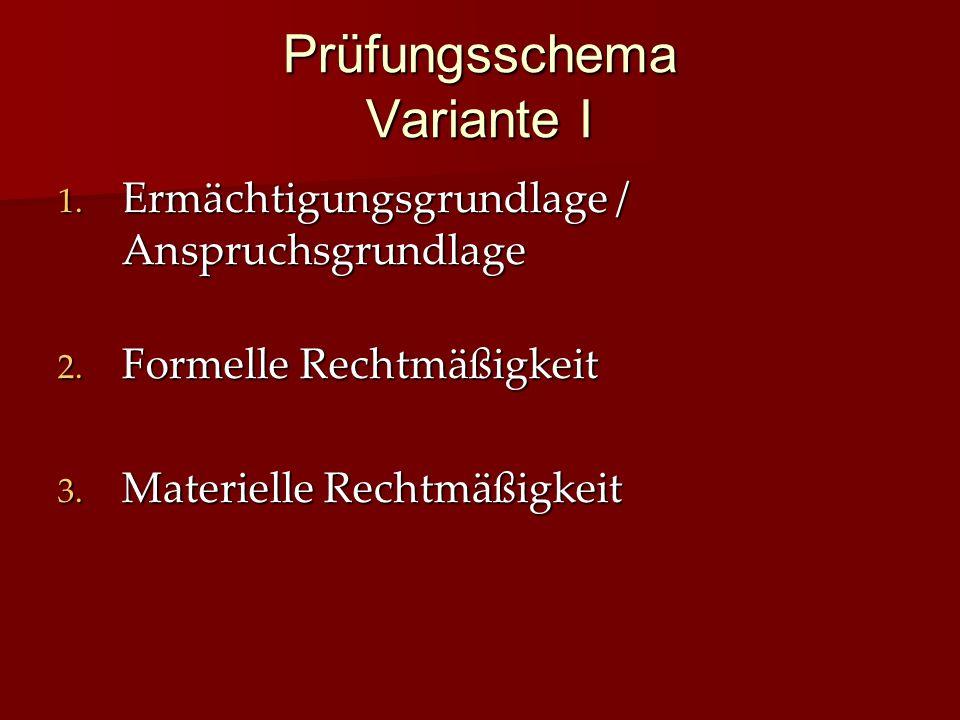 Prüfungsschema Variante I