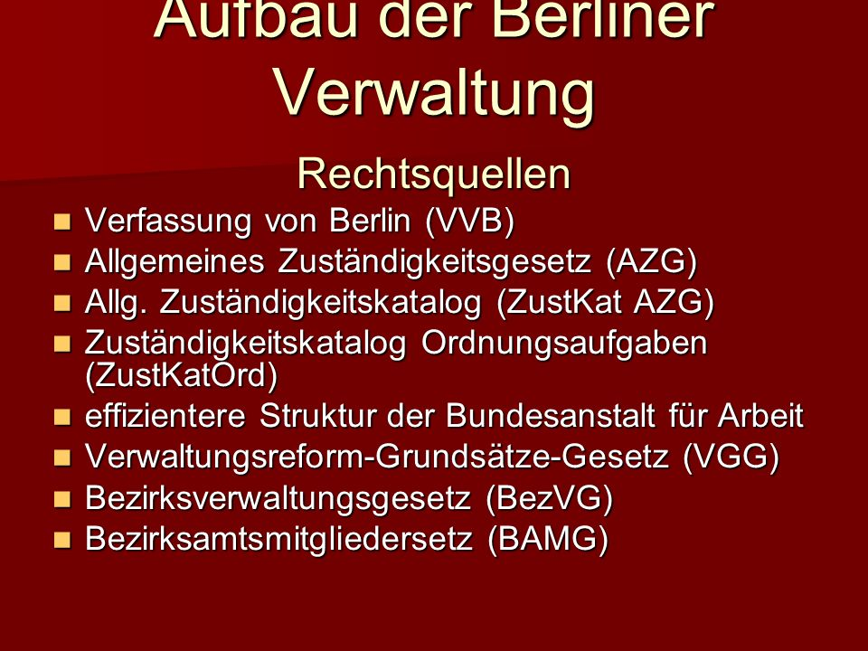 Aufbau der Berliner Verwaltung
