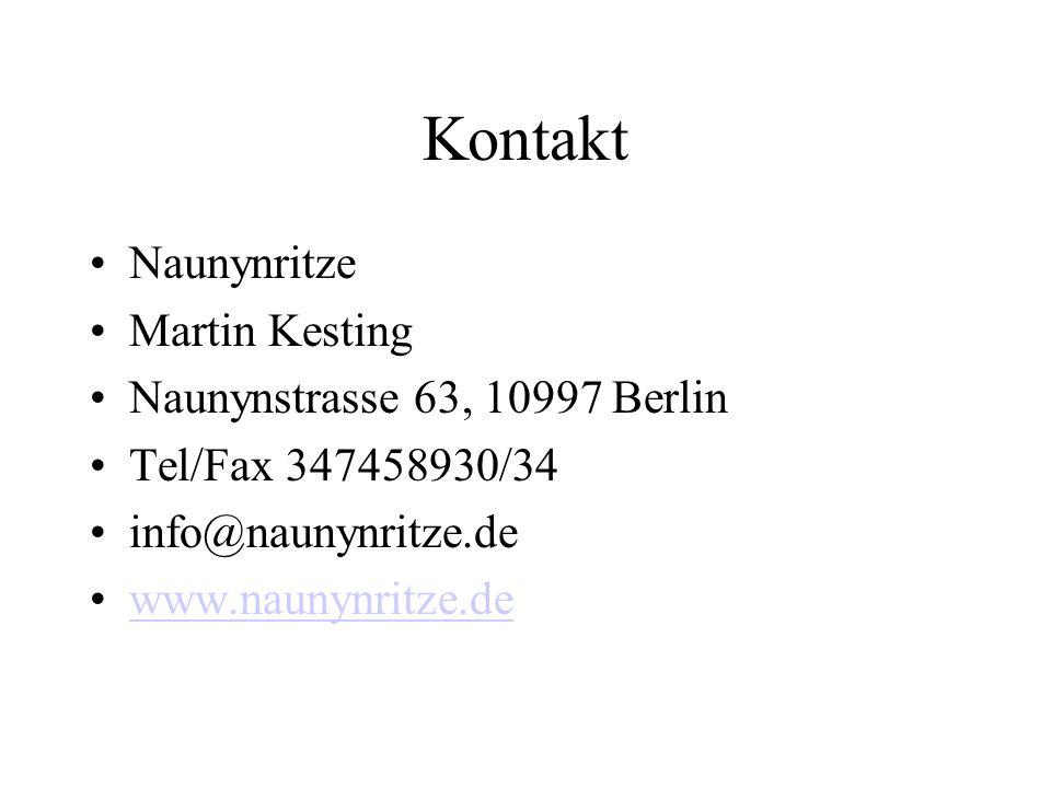 Kontakt Naunynritze Martin Kesting Naunynstrasse 63, 10997 Berlin