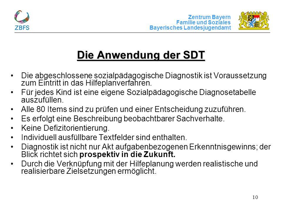 Die Anwendung der SDT Die abgeschlossene sozialpädagogische Diagnostik ist Voraussetzung zum Eintritt in das Hilfeplanverfahren.