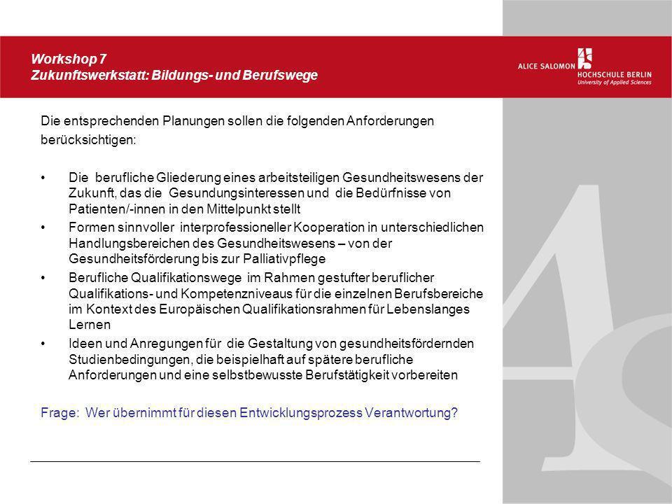 Workshop 7 Zukunftswerkstatt: Bildungs- und Berufswege