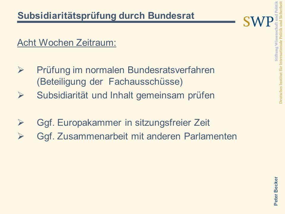 Subsidiaritätsprüfung durch Bundesrat