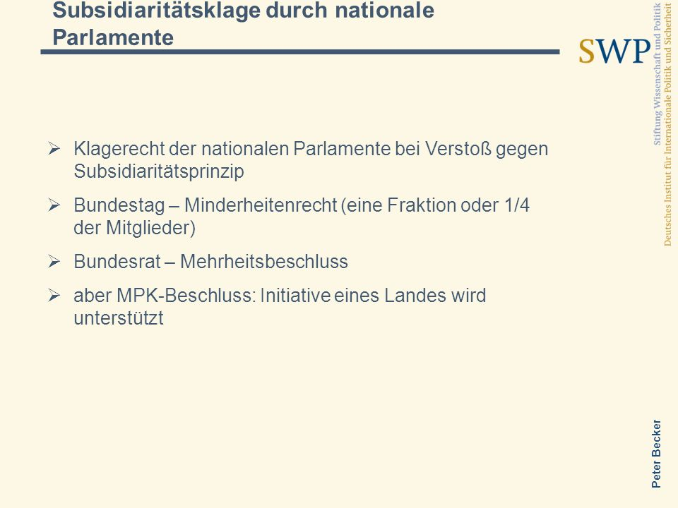 Subsidiaritätsklage durch nationale Parlamente
