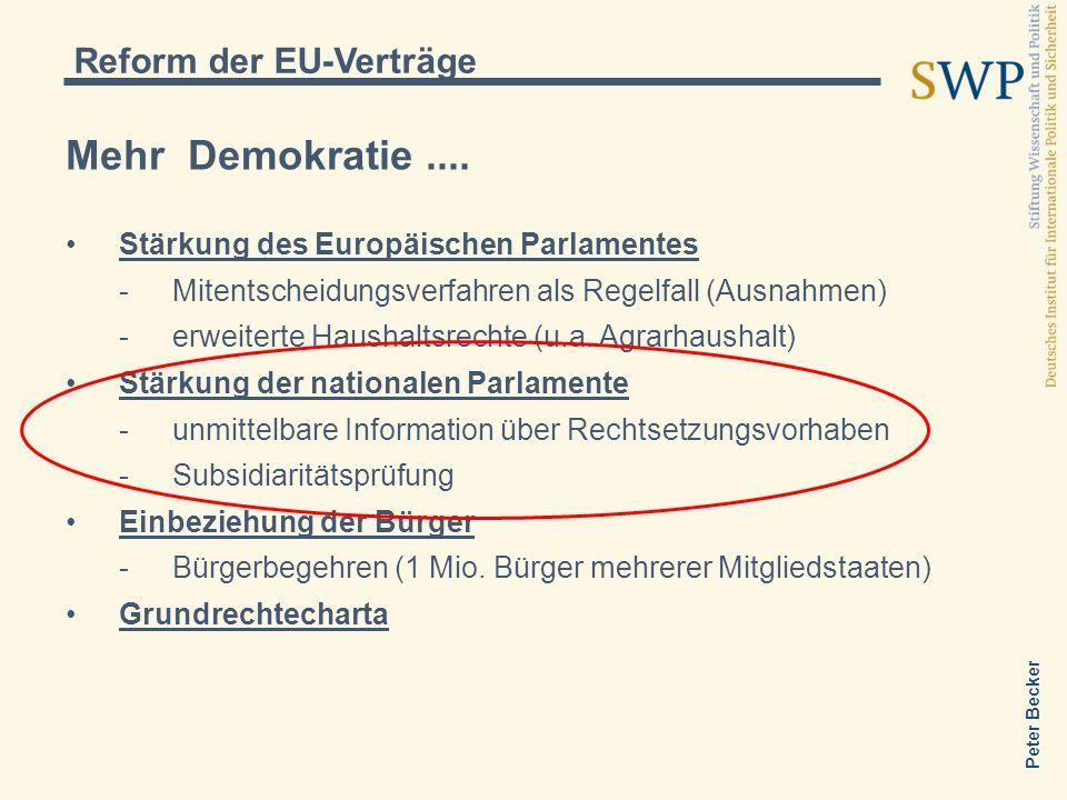 Mehr Demokratie .... Reform der EU-Verträge