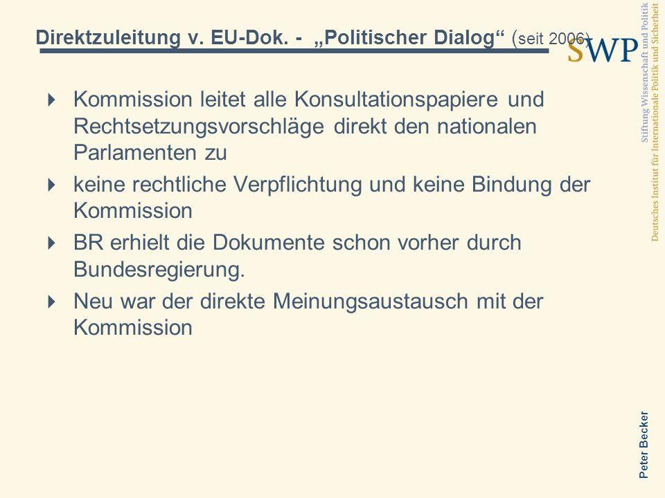 "Direktzuleitung v. EU-Dok. - ""Politischer Dialog (seit 2006)"