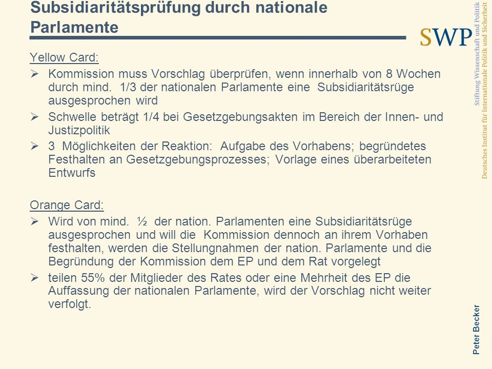 Subsidiaritätsprüfung durch nationale Parlamente