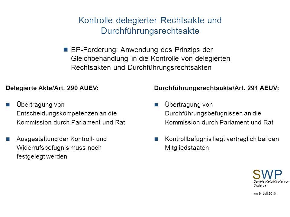 Kontrolle delegierter Rechtsakte und Durchführungsrechtsakte