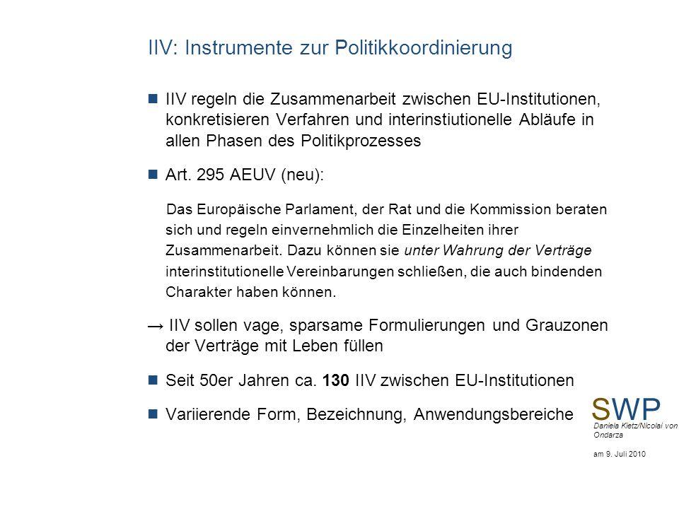 IIV: Instrumente zur Politikkoordinierung