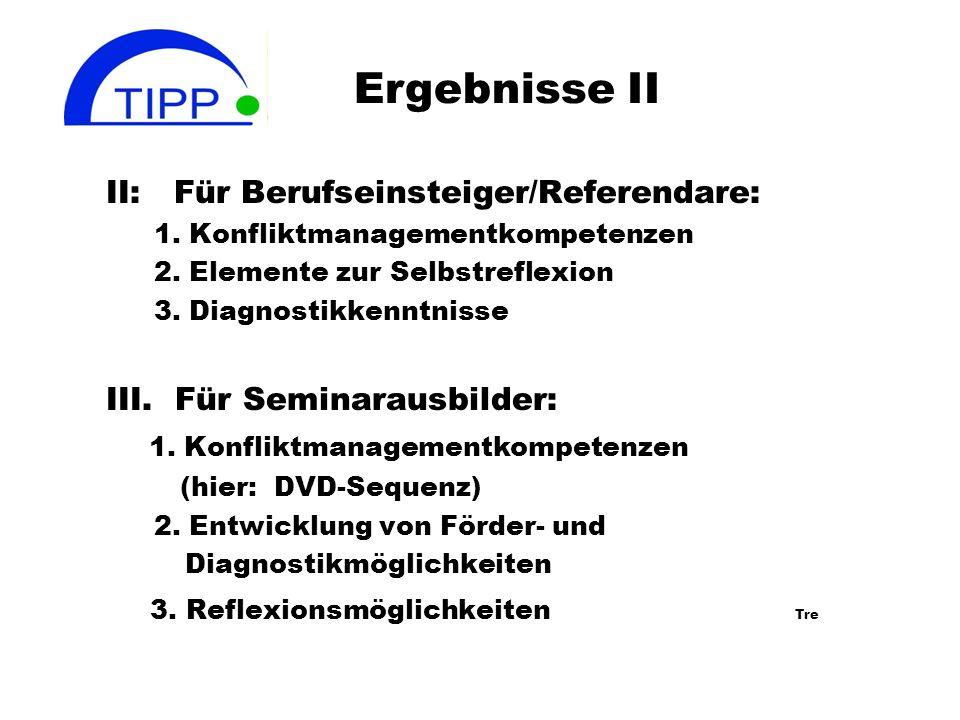 Ergebnisse II II: Für Berufseinsteiger/Referendare: