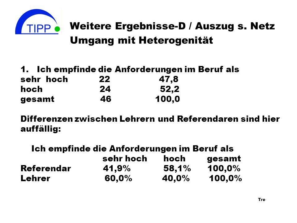 Weitere Ergebnisse-D / Auszug s. Netz Umgang mit Heterogenität